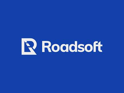 Roadsoft logo road lines road r monogram letter mark branding logo