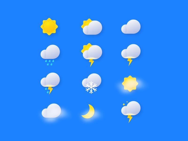 Weather icons icons set moon mist rain sun cloud icons icon vector illustration