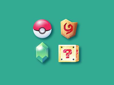 gaming icon set illustration super mario cube rupee zelda deku shield pokeball pokemon icon set icons