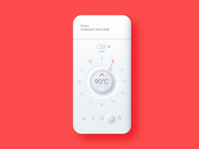 Smart Washing Machine minimalistic washing machine app vector ui design illustration