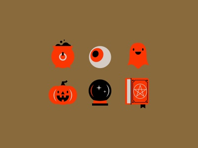 halloween icons spell book crystal ball cauldron eyeball ghost pumpkin halloween vector friendly icons illustration