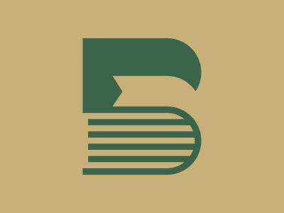 B Book library bookstore book b icon monogram letter mark branding logo