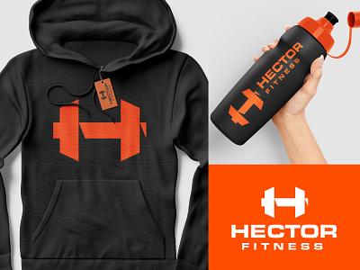 Hector fitness dumbbell h fitness branding logo