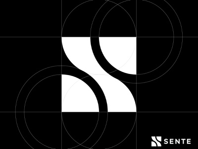 Sente 2 finance software s icon monogram letter mark branding logo