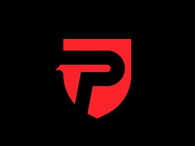Prest shield p eagle hawk bird icon letter mark branding logo