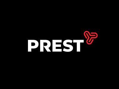 Prest p shield monogram letter mark branding logo