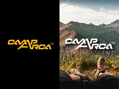 CampArca logo chuck box camping mountains wordmark branding logo