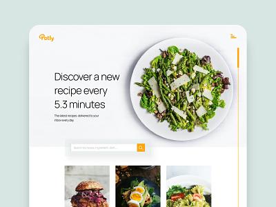 Potly landing page simple clean recipes branding web design landing page challenge ui