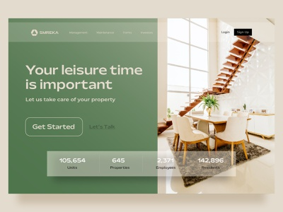 Smreka property management landing page design call to action property property management web design landing page website branding