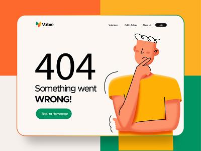 Valore 404 page ui illustration design web design error page 404