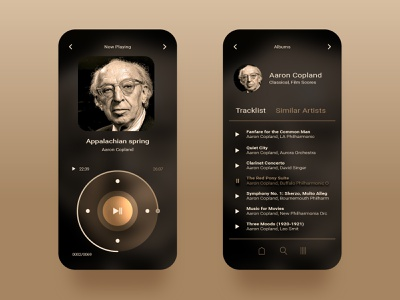 Music player aaron copland tracklist playlist pause mobile version clean simple mobile music play music player ui