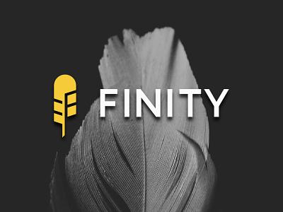 Finity logo f feather creativity vector design icon letter illustration mark branding logo
