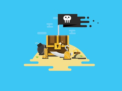 A Pirate's Life For Me skull island bomb chest trasure coins hook illustration pirates