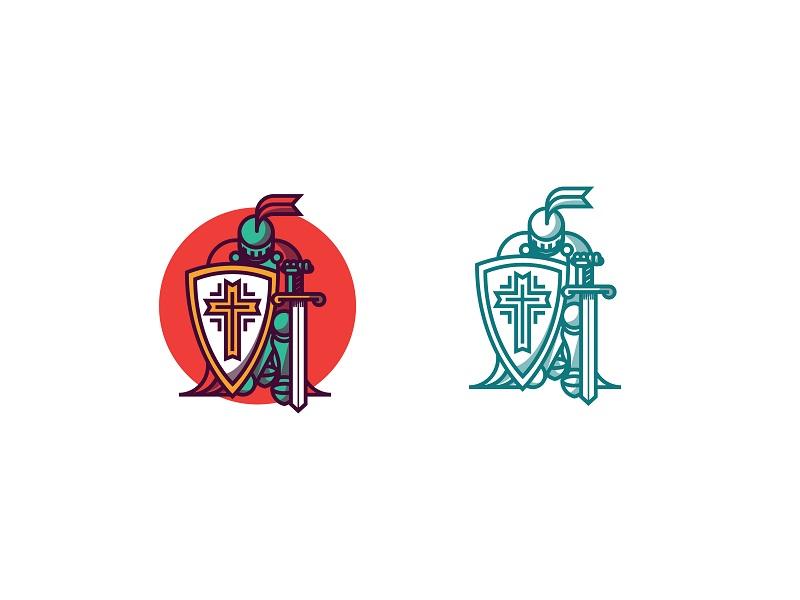 Kneeling Knight branding logo mark kneeling knight