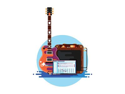 Guitar Set tabs computer laptop amp guitar