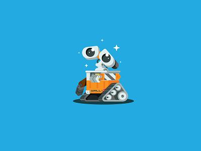 Wall-e icon illustration movie cartoon droid robot wall-e