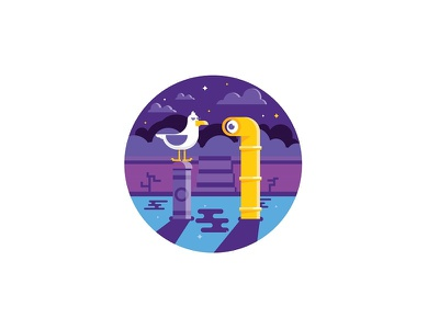 Gull close encounter seagull illustration stars night water sea submarine periscope gull