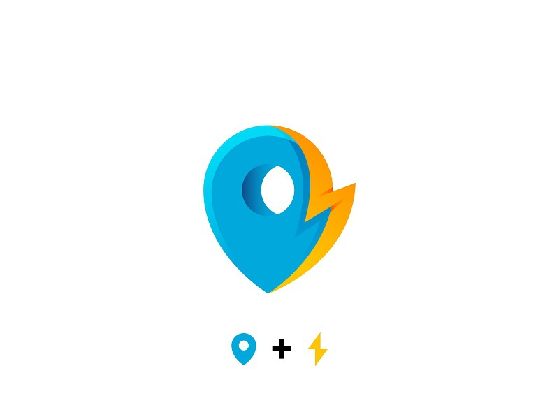 Pin + Lightning branding mark logo lightning fast quick local pin