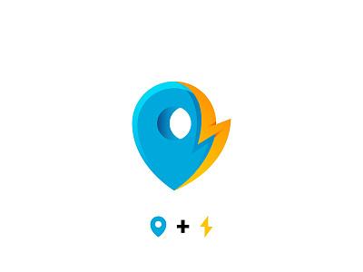 Pin + Lightning branding mark logo lightning fast quick local pin