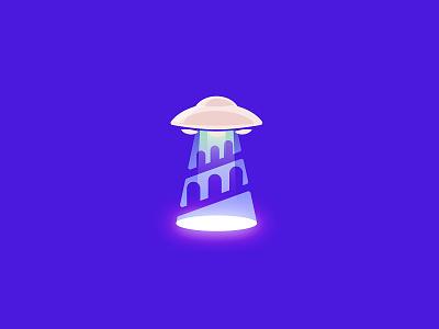 Ufo plus the Tower of Babel branding mark logo beam tower babel ufo