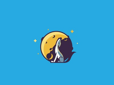 Howling wolf badge illustration howling wolf
