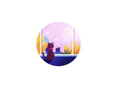 City Vista illustration town cat view city