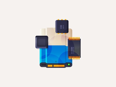Ssd & Components controller illustration cache nand disk ssd
