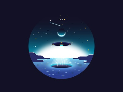 UFO spaceship aliens illustration fantasy sci fi planets stars space sky sea ufo