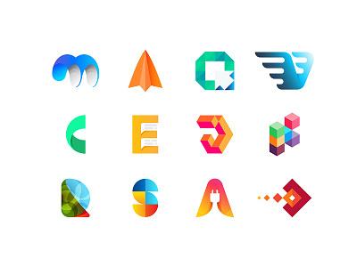 collection of unused, rejected logo proposals branding illustration logo monogram letter mark