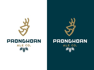 Pronghorn ale illustration mark branding logo