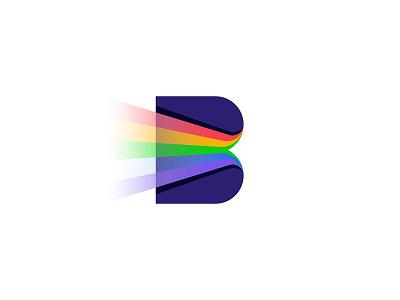 Beam B spectrum light branding logo monogram letter beam b