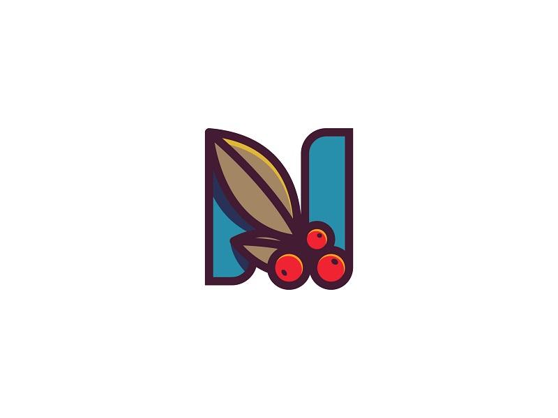 N + Coffee leaf coffee branding letter logo monogram n