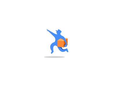 Pick up mark branding illustration logo package delivery pick up