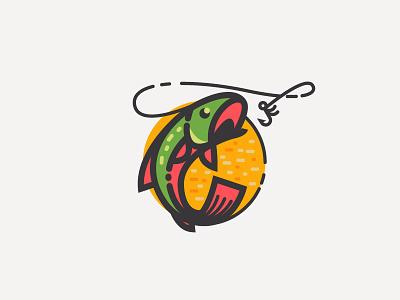 Angler badge branding mark logo sun fishing hook fish angler