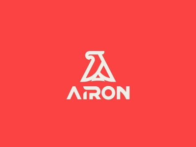 Airon typography mark letter a logo brand iron eagle air