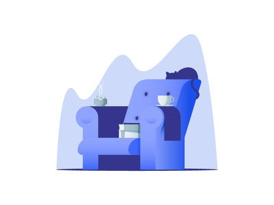 Chair cup cigarettes books illustration blue cat sit couch chair
