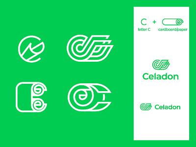 C Paper eco recycling green branding logo cardboard paper mark letter c