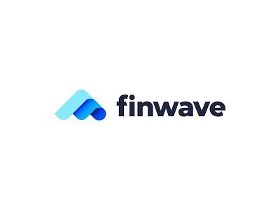 Finwave mark finance water fin wave fintech wordmark logo design design branding brand logo