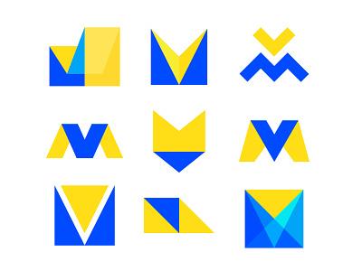 MV exploration logo mark monogram letter mv v m