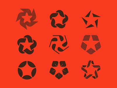 Stars exploration shapes golf leaf leaves branding mark logo starts