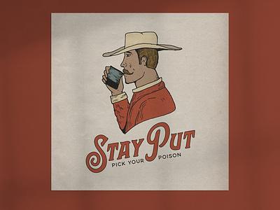 Stay Put Cowboy typography design illustration branding