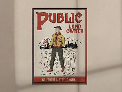 Public Land Owner Magazine Cover typography illustration design branding