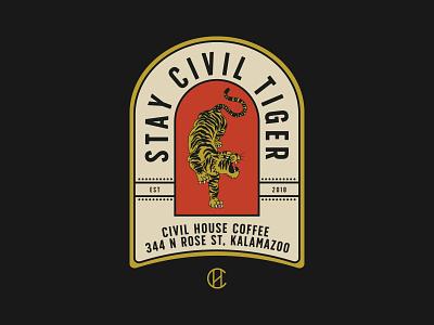Stay Civil Tiger vector poster logo illustration design branding