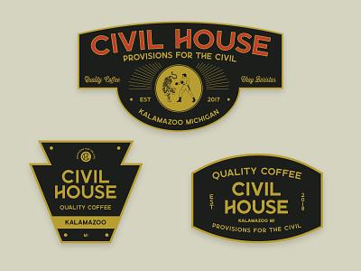 Badge pack For Civil House Coffee sticker logo illustration typography design branding