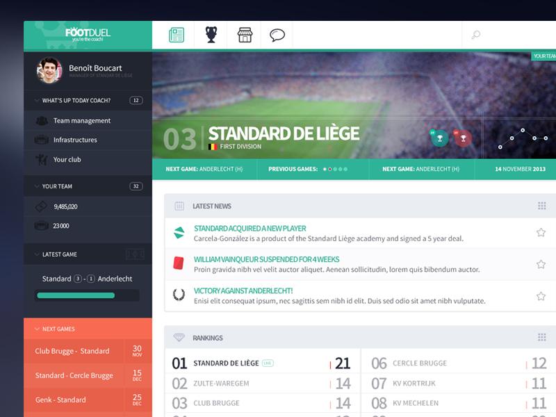 Dashboard for a football app football minimal dashboard flat app ui clean modern soccer sports webdesign belgium