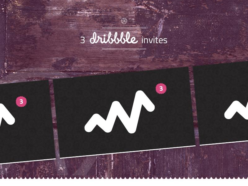 3 Dribbble invites giveaway card invite invitation dribbble