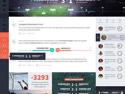 Football App - Live Game part 2 football soccer ui clean minimal timeline sport dashboard stats