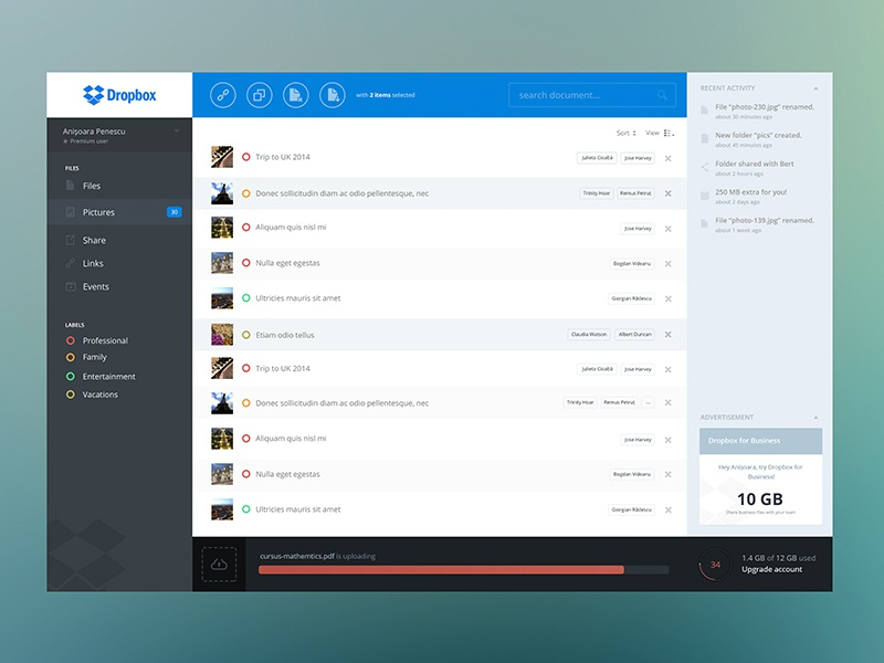 Dropbox redesign concept app ui webdesign web dropbox upload tags ikons