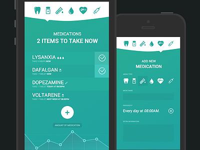 Medications Mobile App mobile medical medications app flat ui sketch