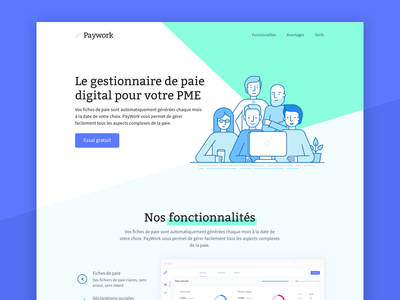 Landing page for a SaaS startup ux ui software service saas paywork lapa landing page landing home